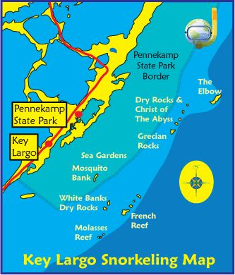 Snorkeling Key Largo Map